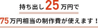 持ち出し25万円で75万円相当の制作費が使えます!