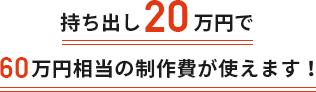 持ち出し20万円で60万円相当の制作費が使えます!